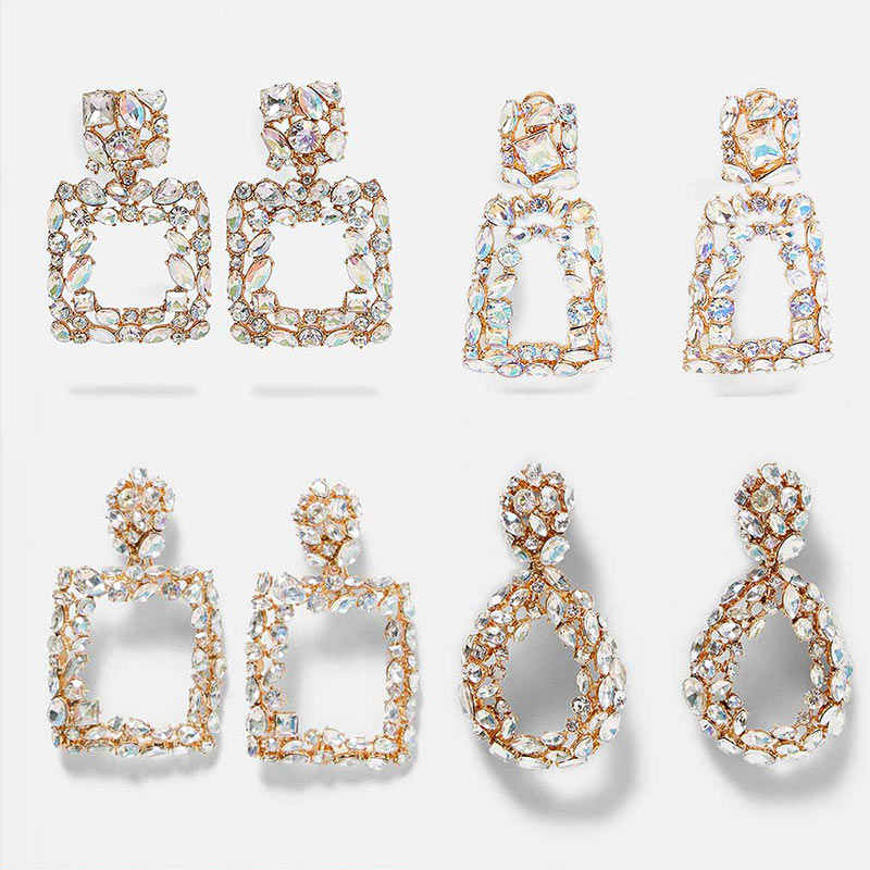 Flatfoosie ZA Shine Crystal Drop Earrings for Women Geometric Rhinestone Big Statement Earrings Bling Wedding Bridal New Jewelry