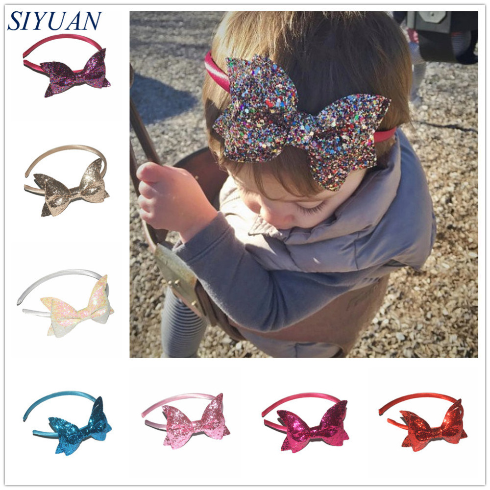 50pcs lot DIY Boutique Satin Wrapped Plastic Headband with sparkling Sequin Bow Knot Girl Lovely Hairband