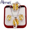 Almei Amor Plata Grande Rhinestone Amarillo Jewerly para Las Mujeres de Las Señoras de Boda CZ Diamond Collares Collar Pendientes Anillo T Y182