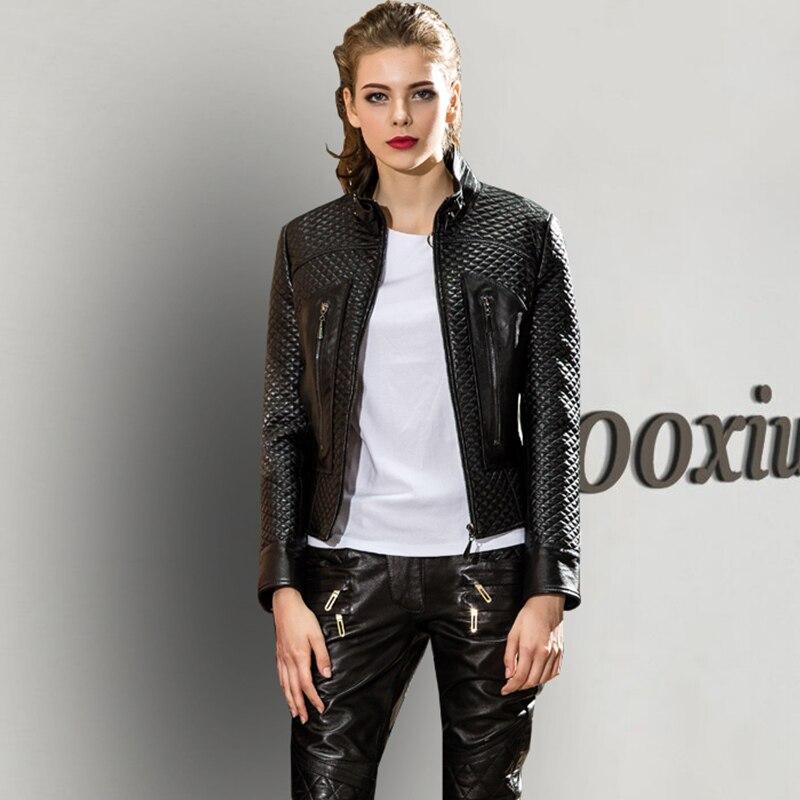Mouton Black Automne Printemps 2018 Mujer Chaqueta Fit Court Peau Femmes En Manteau Zt525 Vêtements Élégant Coréen Véritable Manteaux Slim Veste Cuir De a1qra0x