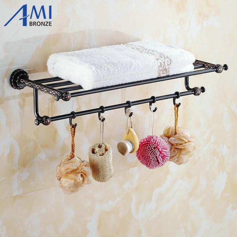 Twin Flowers Series Carving Black Brass Towel Rack Towel Shelf With Single  Towel Bar Hooks Wall Mounted Bathroom Accessories. Shop Shelves Promotion Shop for Promotional Shop Shelves on