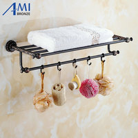 Twin Flowers Series Carving Black Brass Towel Rack Towel Shelf With Single Towel Bar Hooks Wall Mounted Bathroom Accessories