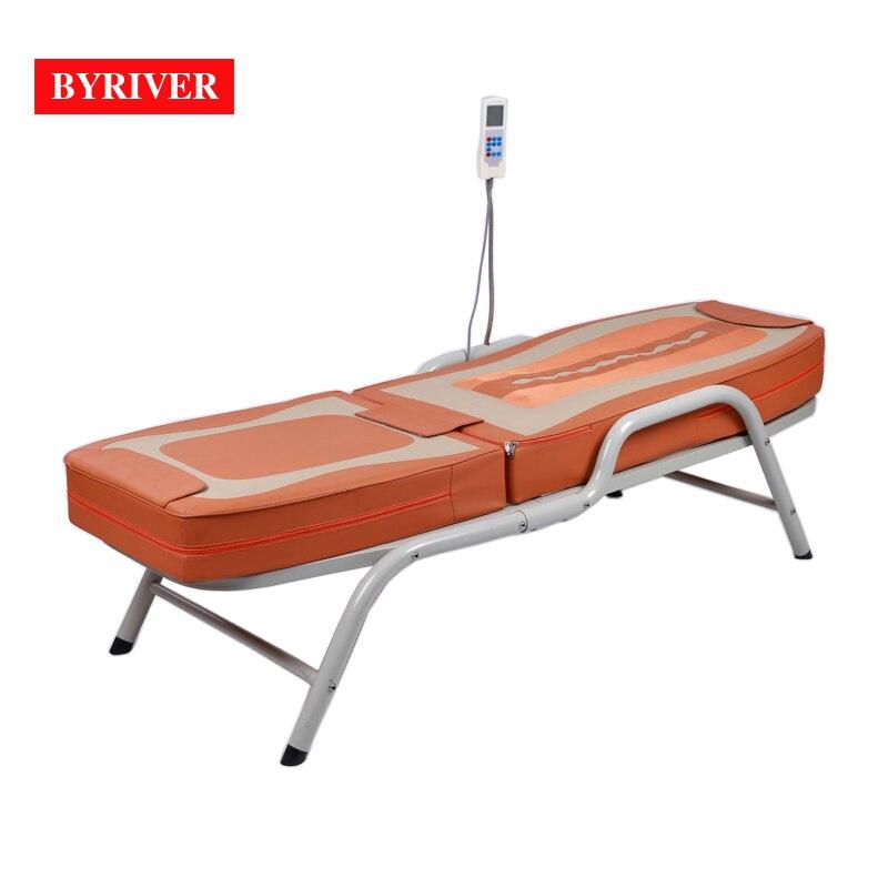 BYRIVER fábrica al por mayor Jade piedra cuerpo completo masaje cama con marco de Metal hierro 5 + 4 rodillo masajeador estera Envío Directo