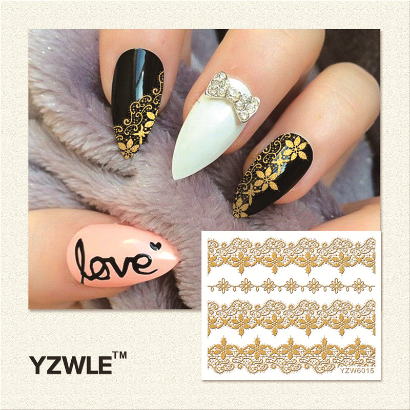 (YZWLE) 1 Sheet Hot Gold 3D Nail Art Stickers DIY Nail Decorations Decals Foils Wraps Manicure Styling Tools (YZW-6015)
