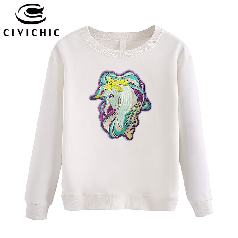 CIVI CHIC Stylish Unicorn Embroidery Women Hoodie Harajuku Shirt Cotton Pullover Street Loose Sweatshirt Thicken Tops Wear WHD09