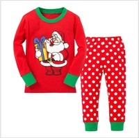 Tiny Cottons Autumn 2017 Cute Toddler Girl Clothing Sets Polka Dot Christmas Suit Long Sleeve Pajamas