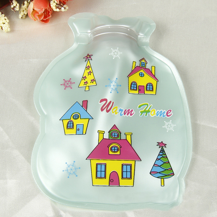 PVC+Rubber Material Bottle Shape Cartoon Printed Pearl Light PVC Explosion-proof Hot Water Bag Hand Warmer Storage Water Bag lovely cartoon charging electric hot water bag environmental protection material safety explosion proof anti warm water bag