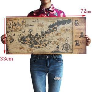 Image 3 - Autocollants muraux avec carte du monde, artisanat rétro, en bateau, 72x33 cm, décoration antique de Bar, peinture