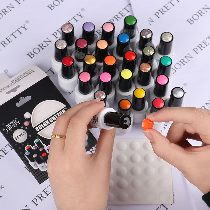 BORN PRETTY 10 st 25 st Nail Color Button UV Gel Polsk Färg Display Etikett Vit Silikon Adhesive Paster Nail Art Tool