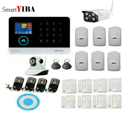 fuers russian english wifi gsm home alarm system security phone apps control russian alarm with ip camera wifi gsm alarm system SmartYIBA WiFi 3G WCDMA Alarm System Sensor kit English Spansih Russian Smart Home WIFI GSM Burglar Alarm with Outdoor IP Camera