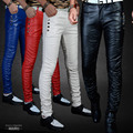 Fashion Male PU Leather Slim Skinny Pants Tight-Fitting Long Men Casual Trousers Punk Prom Singer Stage Wear Pants 4 Colors
