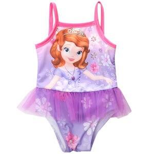 2016 stroje kąpielowe dla dziewczyn Cartoon drukowane koronki Strappy jeden kawałek stroje kąpielowe dla dzieci 2-8Y
