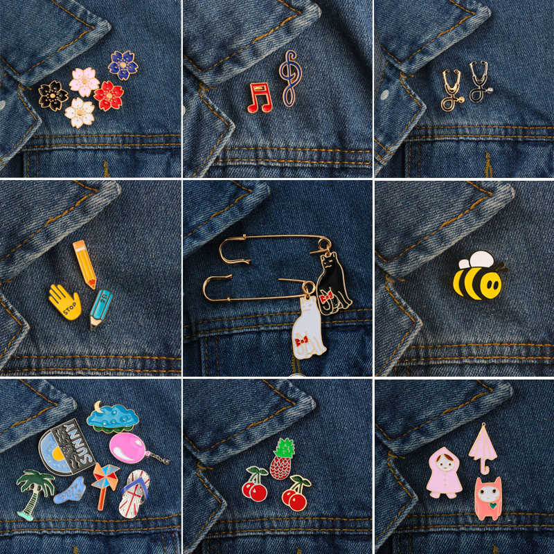 1 ~ 7 Pcs/set Kartun Lebah Buah Kucing Stetoskop Bunga Pena Balon Bros Perhiasan Enamel Pins Aksesoris Lencana Bros untuk wanita