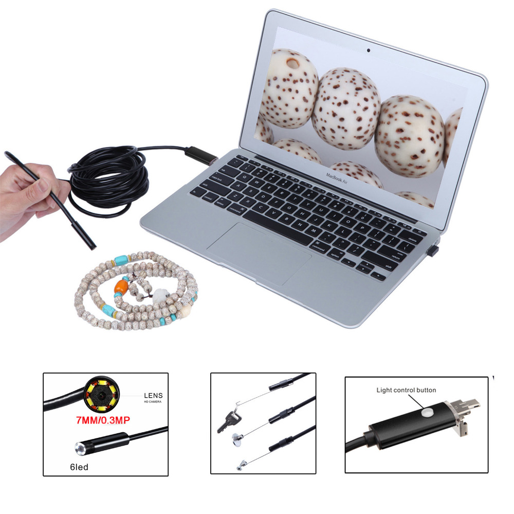 Red Black/Gold 2 in 1 USB 7mm Lens 6 LED Android  Waterproof Endoscope Camera Borescope Inspection Camera with 10M Length Cable 7mm lens mini usb android endoscope camera waterproof snake tube 2m inspection micro usb borescope android phone endoskop camera