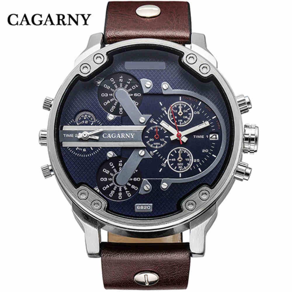 Luksuzna blagovna znamka moške kvarčne ure dvojno gibanje CAGARNY - Moške ure