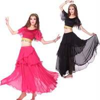 2016 New Arrival Sexy Bollywood bellydancing Costumes Tops+Skirt nice dancing Outfits Suits 2pcs/set wholesale