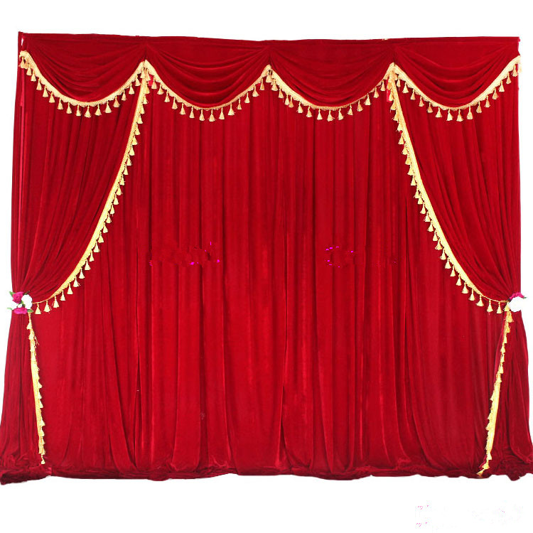 High Quality Velvet Wedding Backdrop Curtains With Tassel Swags Stage Performance Background Curtain 3X3M Deaoration In Party Backdrops From Home