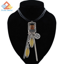 Vintage Crystal Necklace for Women Zinc Alloy Geometric Rhinestone Leather Rope Long Necklace Pendant цена в Москве и Питере