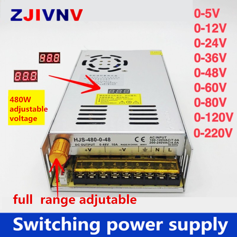 480 Вт Цифровой дисплей Импульсный источник питания Регулируемое напряжение 0-5 в 12 В 24 в 36 в 48 в 60 в 80 в 120 в 220 В, 24 В 20A, 48 В 10a