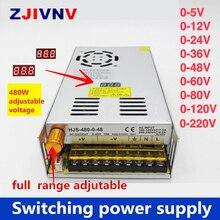 480W digitale display schakelende voeding Verstelbare spanning 0 5V 12V 24V 36V 48V 60v 80V 120v 220 v, 24v 20A, 48V 10a