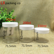 40 pcs Free Shipping 50 80 100 150 200 250 ml  Clear Plastic Packaging Bottles white Lid Spice Container Bank With seal sticker