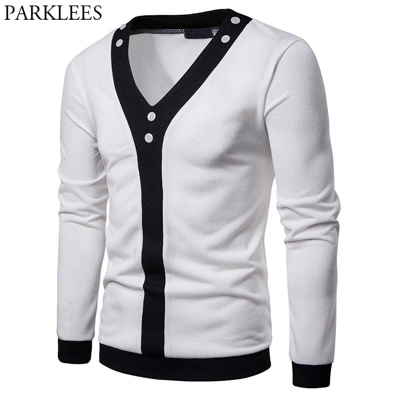 Mens Patchwork Pullover Sweater V Neck Black And White Hit Color Design Male Casual Knit Sweaters Harajuku Streetwear Pull Homme