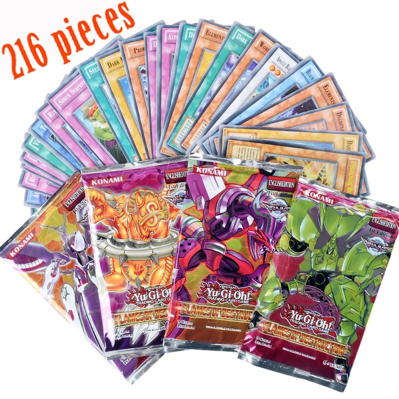 Yugioh 216 piezas set con caja yu gi oh anime juego colección tarjetas niños juguetes para niños