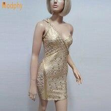 Новинка, женское Бандажное платье на одно плечо с золотой фольгой, сексуальное вечернее короткое платье для ночного клуба, Прямая поставка HL654