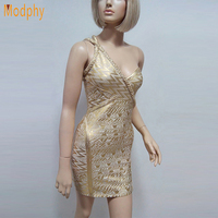 2016 New Women One Shoulder Gold Foil Celebrity Bandage Dresses Sexy Night Club Evening Party Mini