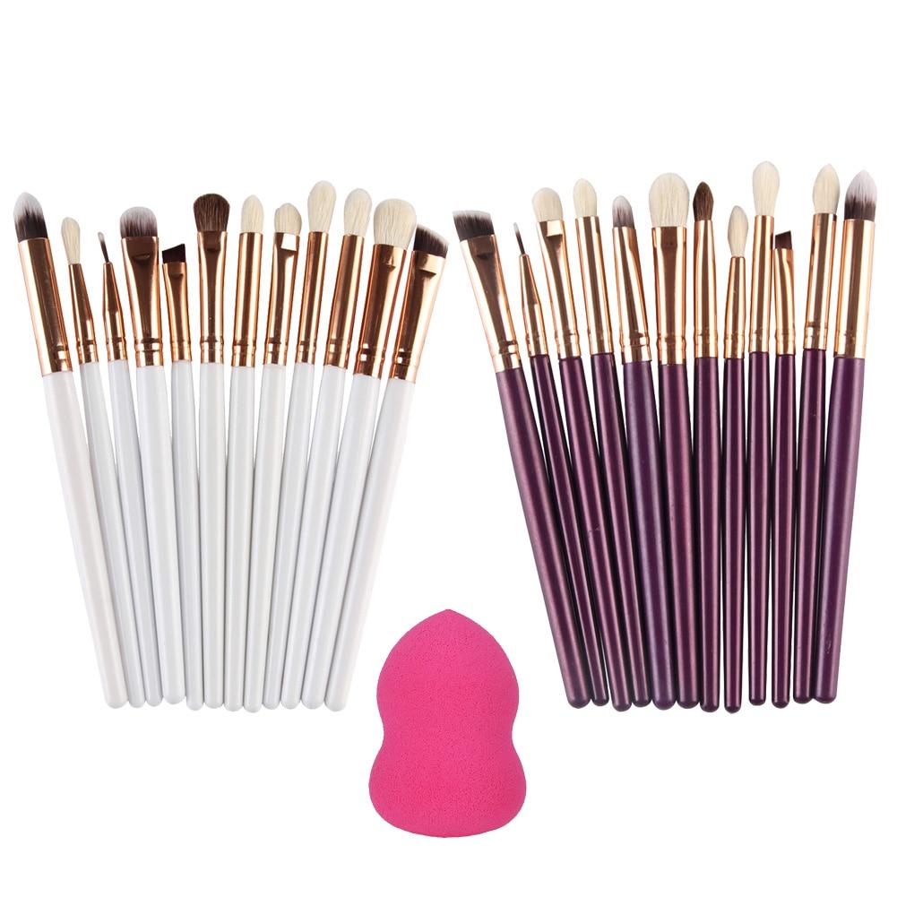 12pcs/sets Makeup Brushes Sets For Eyeshadow Eyeliner Brush Set + 1 Foundation Powder Sponge Puff Maquiagem Beauty Tools спонж isadora compact foundation sponge refill 1 шт