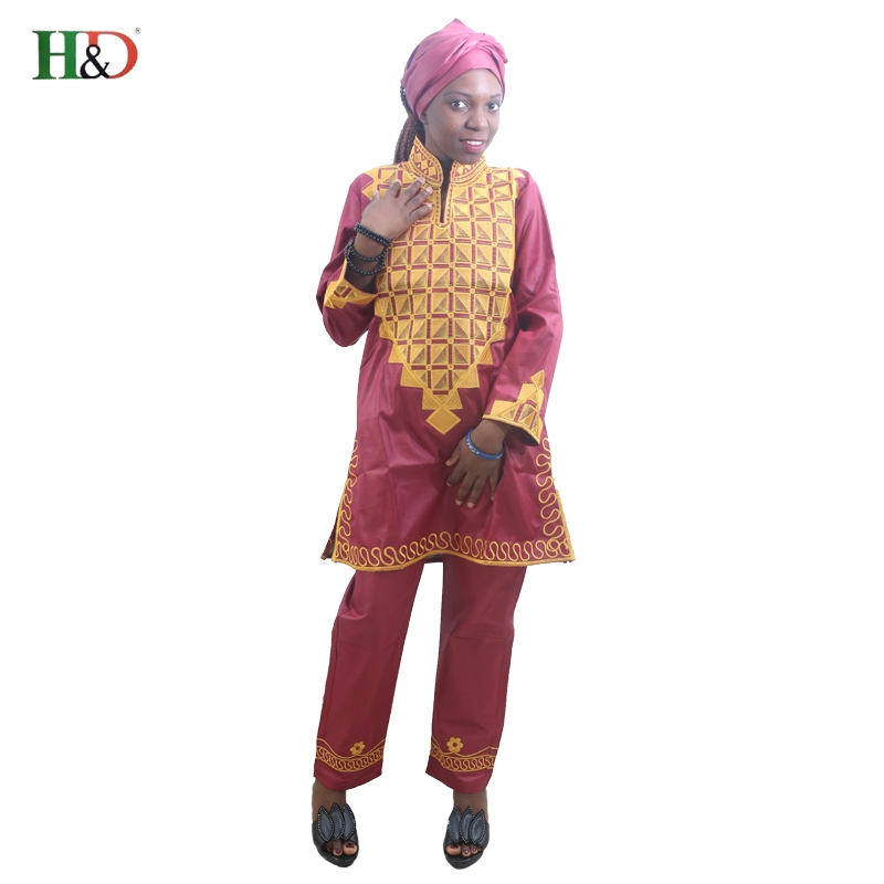 H&d African Women Dress With Pants Short Rapper With Scarf African Lady Tops Pant Sets Three Pcs One Set Traditional Embroidery Refreshing And Enriching The Saliva
