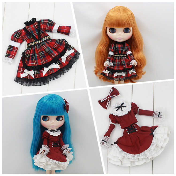 Plaid skirt available for Blyth Licca Chloe dolls Blyth doll dress doll clothes plaid ruffle trim skirt