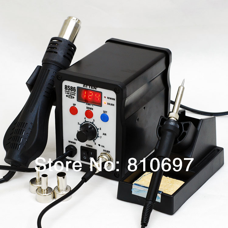 Atten AT8586 temperature display heat gun welding sets AT936b+AT858D 2-in-1 hot air and welding station