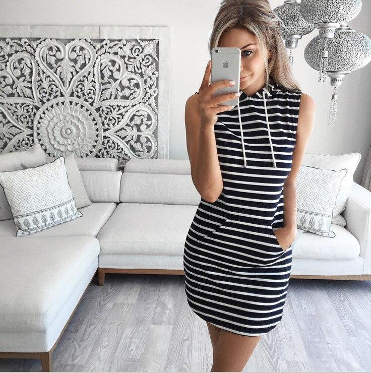 ALI shop ...  ... 32992903280 ... 5 ... Oufisun Summer Casual Sweatshirt Sleeveless 2019 Women Clothing Hooded Drawstring Collar Pocket Simple Party Mini Tank Dress ...