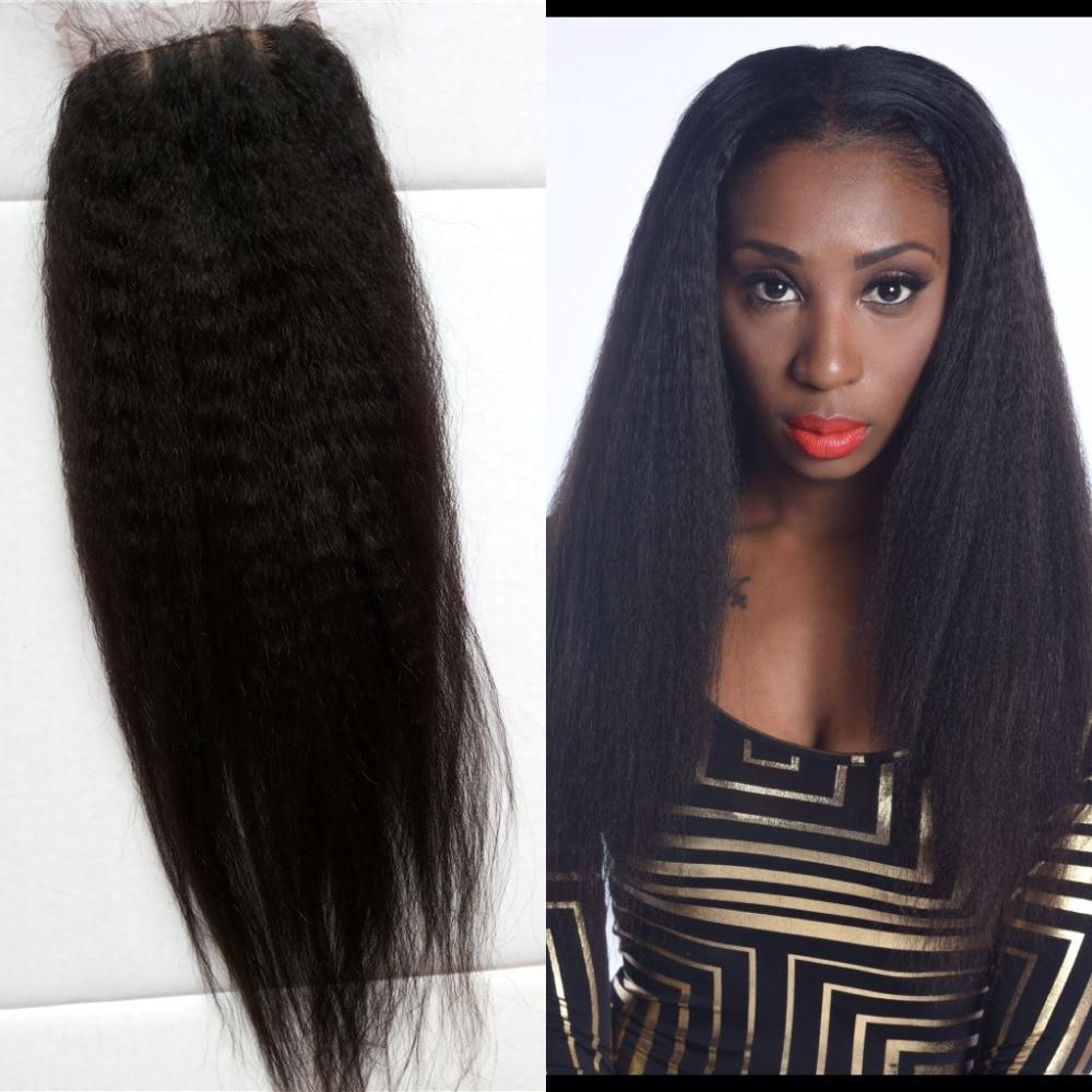 Brazilian Virgin Hair Kinky Straight Silk Base Closure 7A