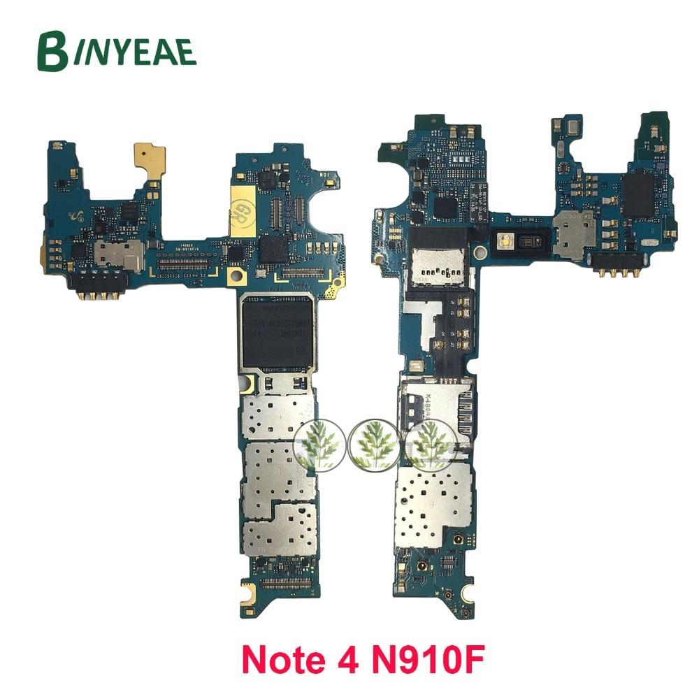 Binyeae europa versão para samsung nota 4 n910f placa-mãe 32 gb mainboard com chips imei 100% bom trabalho placa lógica