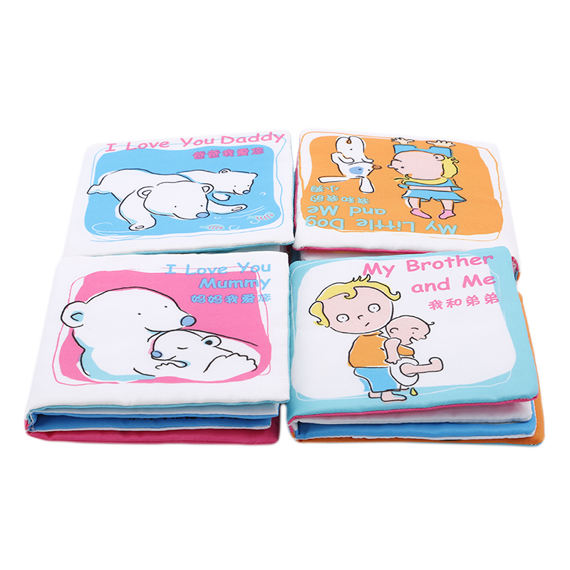 Hot Sale Baby Crinkle Soft Fun Cloth Books I Love <font><b>Papa</b></font> <font><b>Mama</b></font> Brother Dog Children Baby Cute Intelligence Educational <font><b>Toys</b></font> image