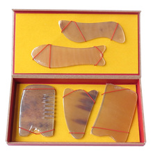 Good quality 100% Natural ox horn comb guasha plate fish and S shaped Yellow 5pcs/set