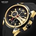 Мужские кварцевые часы MEGIR с силиконовым ремешком, спортивные наручные часы с хронографом для мужчин, часы Relogios Masculino, 2086, золотые, черные