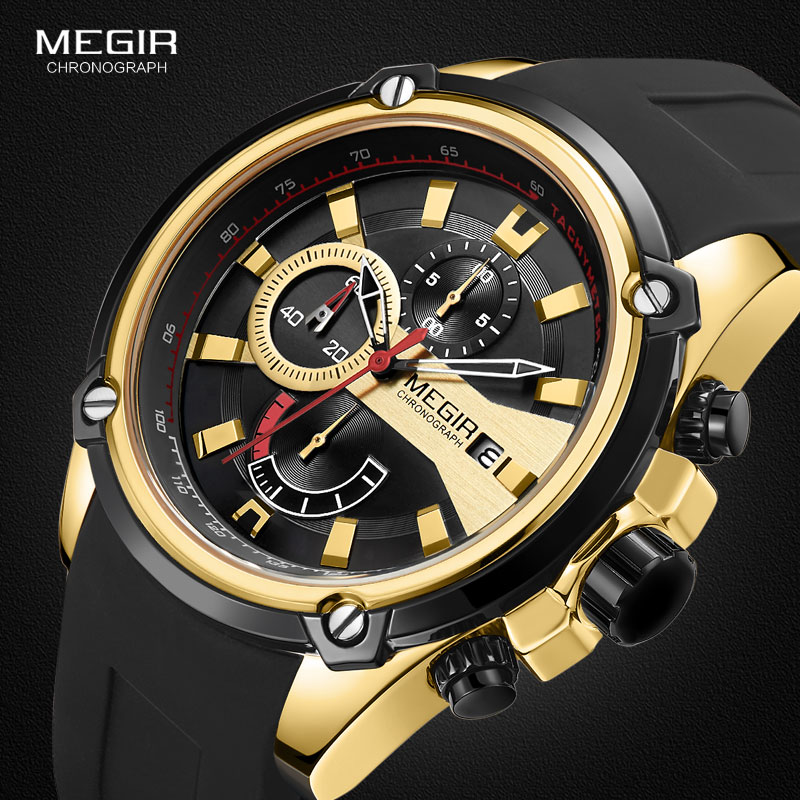 MEGIR Men's Quartz Watches Silicone Strap Leisure Sports Chronograph Wristwatch For Man Clock Relogios Masculino 2086 Gold Black