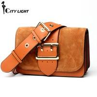 Fashion Scrub Genuine Real Leather Women's Handbags Wide Belt Female Shoulder Bags Organ Design Ladies Mini Messenger Bags
