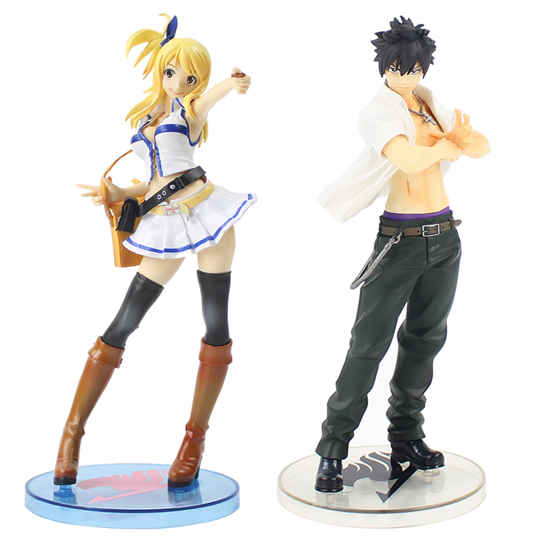 20-22cm Fairy Tail Lucy White Dress Lucy Heartfilia Gray Fullbuster 1/7 Scale Painted Figure Figurine PVC Collectible Model Toy japanese anime figure fairy tail lucy heartfilia sexy cast off girl cosplay pvc action figures toys collectible model toy