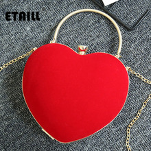 ETAILL Heart Shape Red Velvet Women Evening Bag Ladies Top Handle Velour Party Clutch Fashion Wedding Chain Shoulder