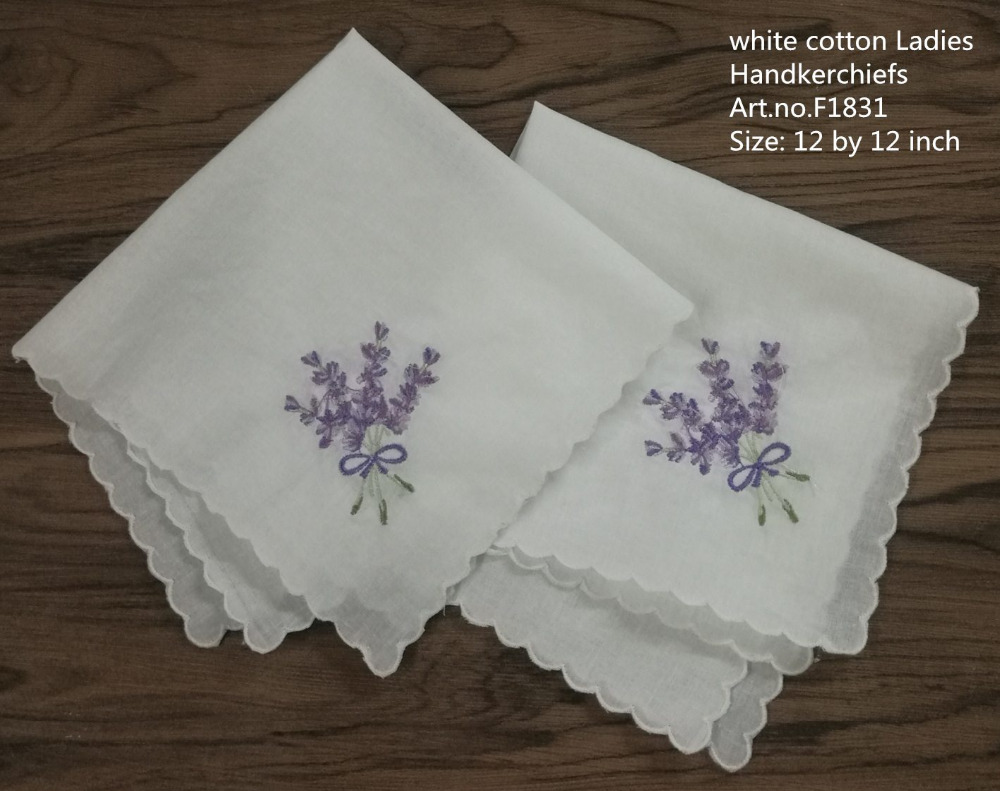 Set Of 12 Women Handkerchiefs 12-inch White Cotton Wedding Hankies Scallop Edged Color Embroidery Vintage Hanky For Ladies/Bride