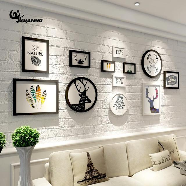 12Pcs/Set Photo Frame Wooden DIY Wall Picture Frames Framework Living Room  Sofa Background Home