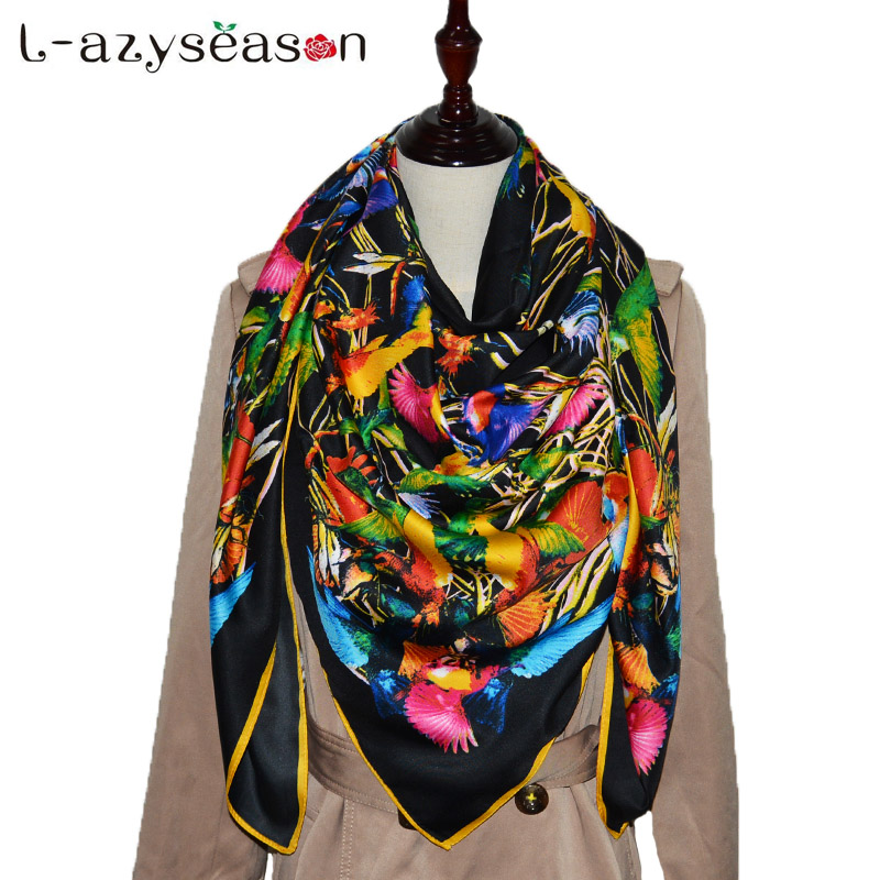 2018 Large size 130X130CM women luxury brand bandana Square silk Scarf Fashion Print hijab black Women Scarves wholesale