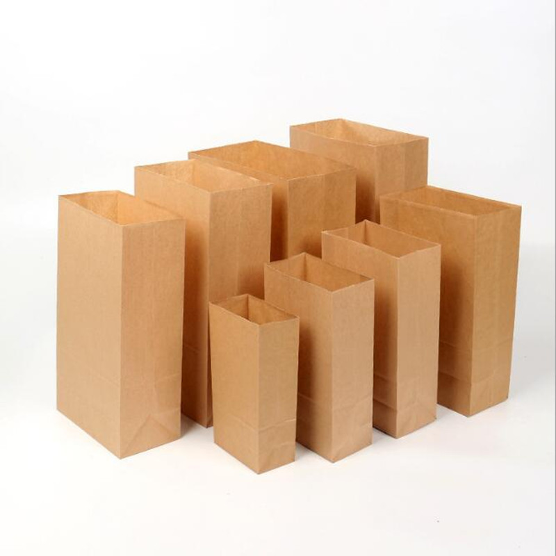 Paper Bag Brown Kraft Paper Bag Gift Bags Packing Biscuits Candy Food Bread Cookie Bread Nuts Snack Baking Package