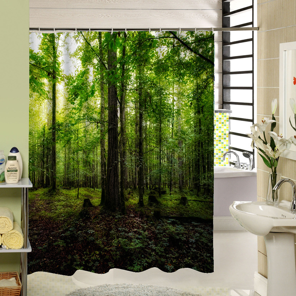 3D Shower Curtains Forest Green BambooTree Waterproof Mildew Proof Fabric Washable Bathroom Drape Set With Rings