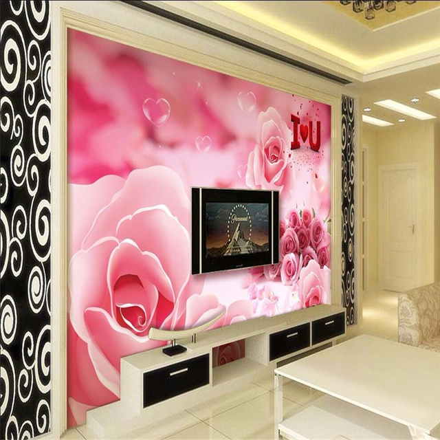 beibehang 3d wall paper mural art decor picture backdrop Pink rose ...