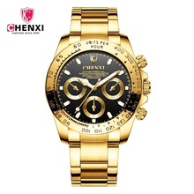 Fashion Luxury Top Brand CHENXI Mens Gold Watch Black Stylish 30 Meter Waterproof Luminous Hands Casual Male Golden Wristwatch